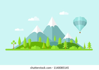 Vector summer landscape. Panorama with mountains of forest, hills and a balloon. Banner in the flat style on the theme of travel and green tourism.