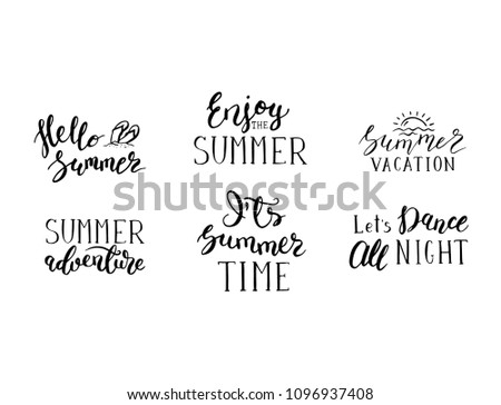 Vector Summer Lettering Phrases Set Postcards Stock Vector Royalty
