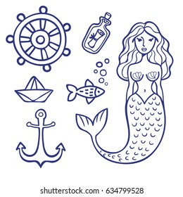 Vector summer marine set: helm, mermaid, anchor, bottle, fish, paper boat. Black-and-white image, outline, coloring. Cartoon style, tattoo. Image for postcard, decor, poster, stickers, print.