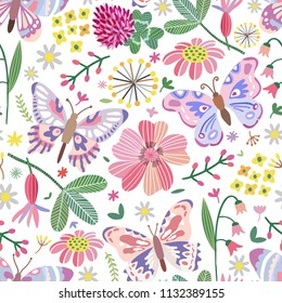 Vector summer meadow seamless pattern. Flowers, butterfly