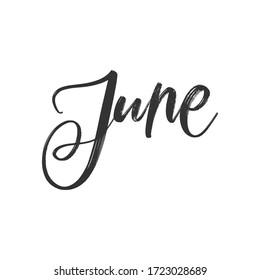 VECTOR SUMMER MONTH HAND LETTERING. JUNE. JUNE MONTH