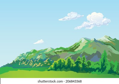 Vector summer mountain landscape