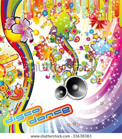 VECTOR Summer Party Background Disco Dance Stock Vector Royalty