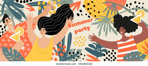 Vector summer party banner with cheerful young people drinking cocktails and dancing on the background of tropical plants. Cartoon characters in flat style