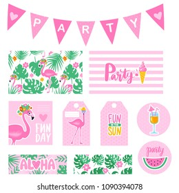 Vector summer party collection with tags, cards, garland, badges. Bright poster. Set elements for beach party with pink flamingo, ice cream, watermelon. Party decorations.