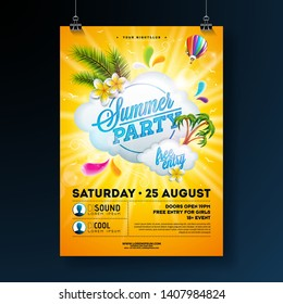 Vector Summer Party Flyer Design with flower, palm trees and sun glasses on sun yellow background. Summer nature floral elements, tropical plants, air balloon and typographic elements. Design template