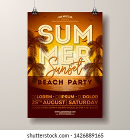 Vector Summer Party Flyer Design with Palm Trees and Ocean on Sunset Landscape Background. Summer Holiday Illustration Template with Tropical Plants and Typography Letter for Banner, Flyer, Invitation