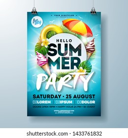 Vector Summer Party Flyer Design with Typography Letter, Sunshade and Ice Cream on Ocean Blue Background. Summer Vacation Holiday Illustration Template for Banner, Flyer, Invitation or Celebration