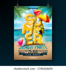 Vector Summer Party Flyer Design with 3d Typography Letter and Tropical Palm Leaves on Ocean Landscape Background. Summer Vacation Holiday Design Template with Toucan Bird, Beach Ball and Sunshade for