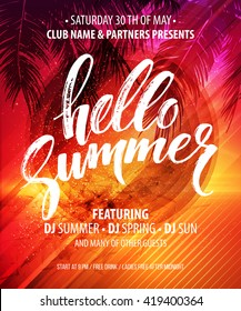 Vector summer party poster background. Hello Summer party.