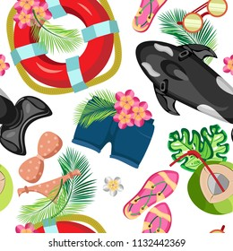 Vector summer pattern of beach clothes, inflatable fish and a life buoy with tropical leaves and flowers