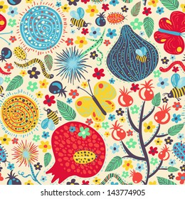 Vector summer pattern with lots of small cute elements: flowers, leaves, worms, fig fruit, pomegranate, berries, bees, bugs and butterflies.