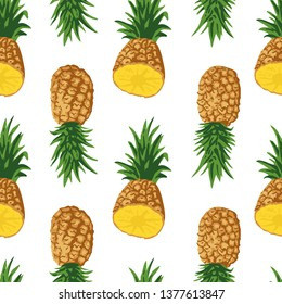 Vector summer pattern with pineapples. Seamless texture design.