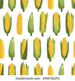 Vector summer pattern with sweet corns. Seamless texture design.