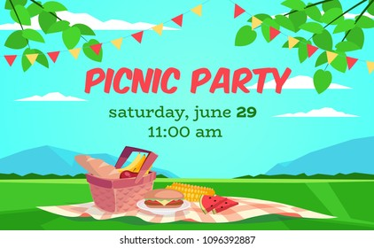 Vector summer picnic illustration. Cartoon style. Basket with food. Field and sky landscape. Party invitation.