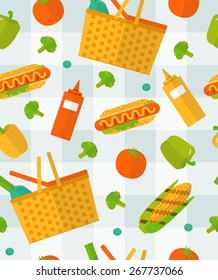 Vector summer picnic pattern. Colorful seamless pattern on checkered tablecloth. Vegetable, food background. Spring barbecue party items. Kitchen pattern.