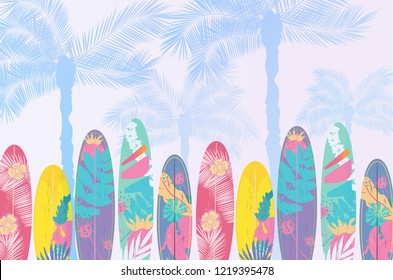 Vector  Summer poster background concept.  Flat horizontal banner. Wind surfing boards. Palm trees. Gradient background. Vector illustration