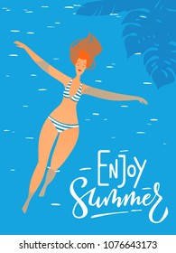Vector summer poster with young sexy woman swimming in a pool.Swimming in the sea woman.