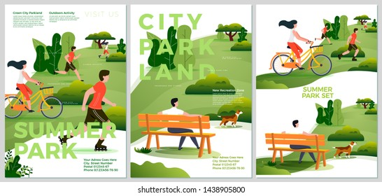 Vector summer posters set - natural parkland activities. Forests, trees and hills on background. Print template with place for your text.