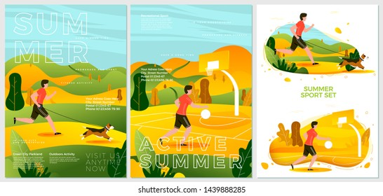 Vector summer posters set - running with dog in park, and basketball player. Forests, trees and hills on background. Print template with place for your text.