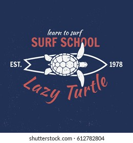 Vector Summer retro badge. Surfing concept for shirt or logo, print, stamp, tee. Board, lazy turtle, hawaii