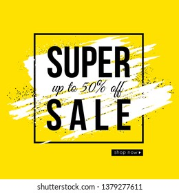 Vector summer sale banner design. Yellow color