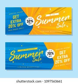 vector summer sale banner, sale ribbon