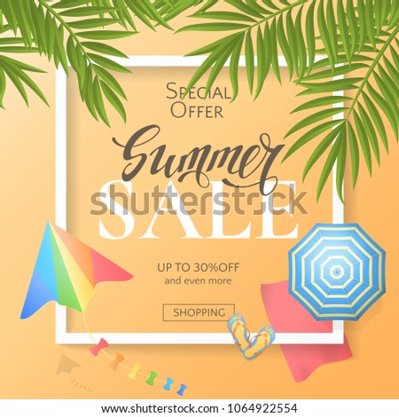 efdc2e21a7942 Vector Summer Sale Banner Top View Stock Vector (Royalty Free ...