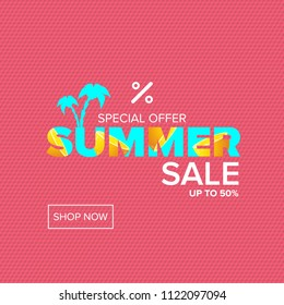 vector summer sale modern design template banner or poster. Summer sale label with typographic text on pink background