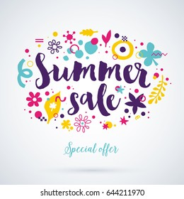 Vector summer sale template with funky hand drawn elements. Useful for party, birthday, invitations and weddings.
