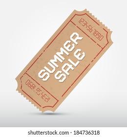 Vector Summer Sale Ticket Illustration