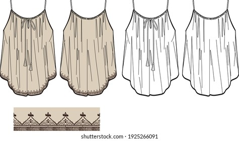 Vector summer scrappy top fashion CAD, woman tank top with tassels and embroidery technical drawing, sleeveless blouse with print fashion flat, template, sketch