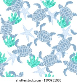 Vector summer sea vacation pattern with swimming blue turtle and starfish doodles, seamless background for marine beach holiday products, fabric and web design. Lovely wild nature with ocean creatures