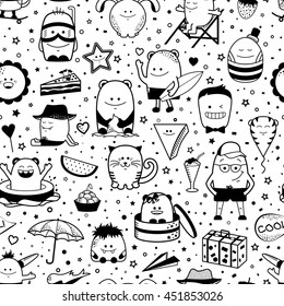 Vector Summer Seamless Pattern With Funny Monsters Personage Cool Black And White Hand Drawn