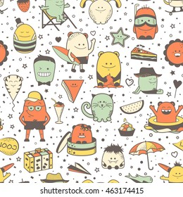 Vector summer seamless pattern with funny monsters, personage. Cool colorful hand drawn characters. Cartoon animals, painted doodles, children's seamless background. Set of unusual creatures