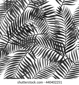 Vector summer seamless pattern with palm leaves. Design for fashion textile summer print, wrapping paper, web backgrounds.  Hand drawn tropical palm leaves, black and white background.