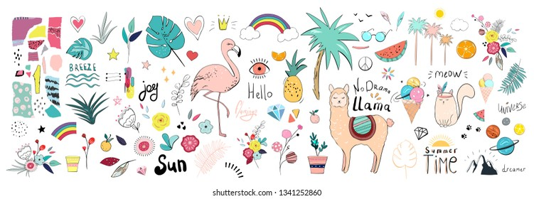 vector summer set with flamigo, llama, cat, palm, fruit, ice cream, lettering. Hand drawn nature design elements
