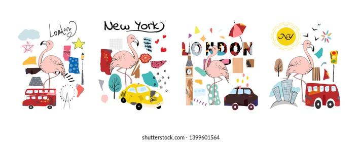 Vector summer set with flamigo, London, New York. Hand drawn stickers design.