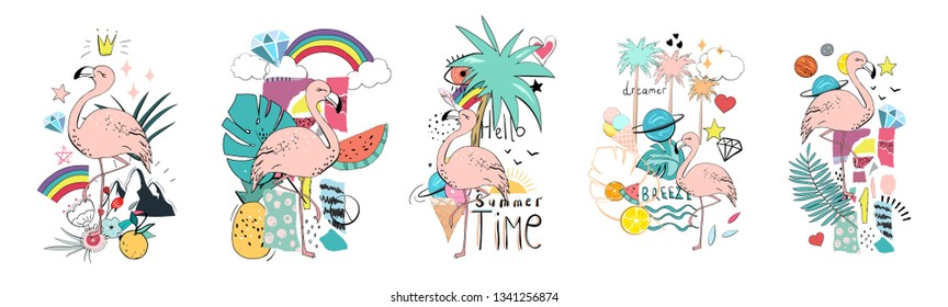 Vector summer set with flamigo, palm, fruit, ice cream, lettering. Hand drawn stickers design