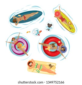 Vector summer set sGirls with dogs swim and sunbathe on an inflatable mattress, surfboard and inflatable circles. Isolated objects on a transparent background.