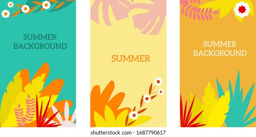 Vector summer set for social media, for greeting cards, prints, aid, background...