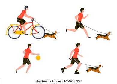 Vector summer sport activities set - bycicle riding, running, basketball playing, rolling man with dog. Isolated on white background.