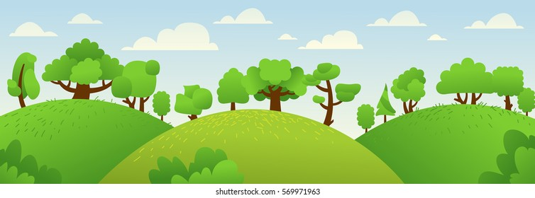 Vector summer and spring landscape with forest, hills and trees