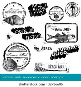 vector summer stamps - set of detailed summer-related grungy rubber stamps