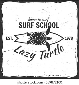 Vector Summer surfing retro badge. Surfing concept for shirt or logo, print, stamp. Board, lazy turtle, hawaii.