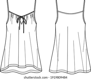 vector summer tank top fashion CAD, sleeveless woman top with drawstring detail technical drawing, sketch, template