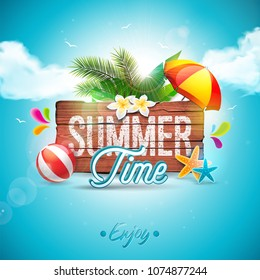 Vector Summer Time Holiday typographic illustration on vintage wood background. Tropical plants, flower, beach ball and sunshade with blue cloudy sky. Design template for banner, flyer, invitation