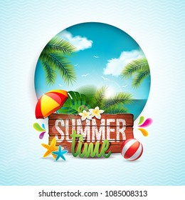 Vector Summer Time Holiday typographic illustration on vintage wood background. Tropical plants, flower, beach ball and sunshade with ocean landscape. Design template for banner, flyer, invitation
