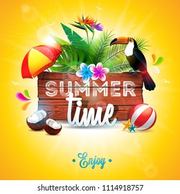 Vector Summer Time Holiday typographic illustration with toucan bird on vintage wood background. Tropical plants, flower, beach ball, coconut and sunshade with blue sky. Design template for banner