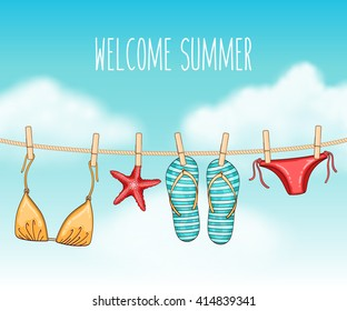 Vector summer travel illustration with swimsuit and flip flops hanging on a clothesline on blue cloudy sky background
